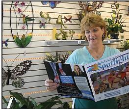 Youre in the spotlight spotlight news magazine suzie sayger at heaven scent flowers reads the spotlight mightylinksfo
